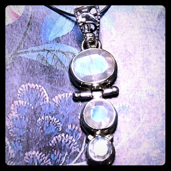 Rainbow Moonstone Sterling Pendant Necklace